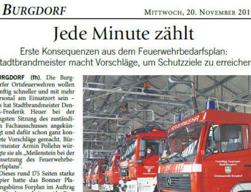 Umsetzung des Feuerwehrbedarfsplans der Forplan GmbH für Burgdorf