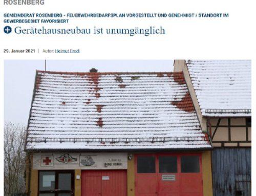 Feuerwehrbedarfsplan der Forplan GmbH für die Gemeinde Rosenberg verabschiedet